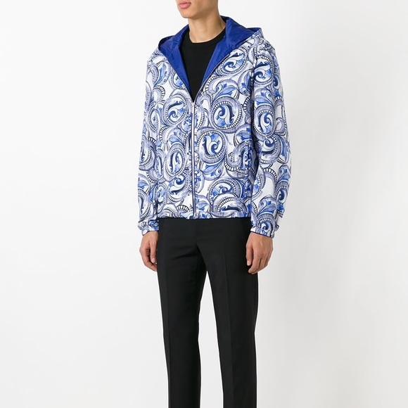 00ad29bba4 Versace Jackets & Coats   New White Blue Baroque Reversible Jacket ...